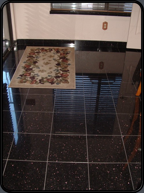 Black galaxy granite floor and window sills