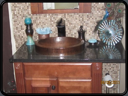 Copper sink with backsplash, black galaxy top