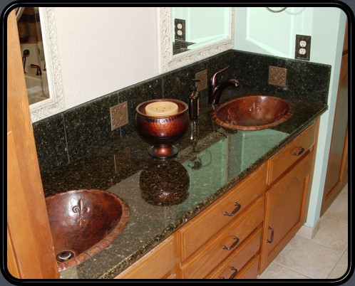 Double vanity in copper with Fluer De Lis