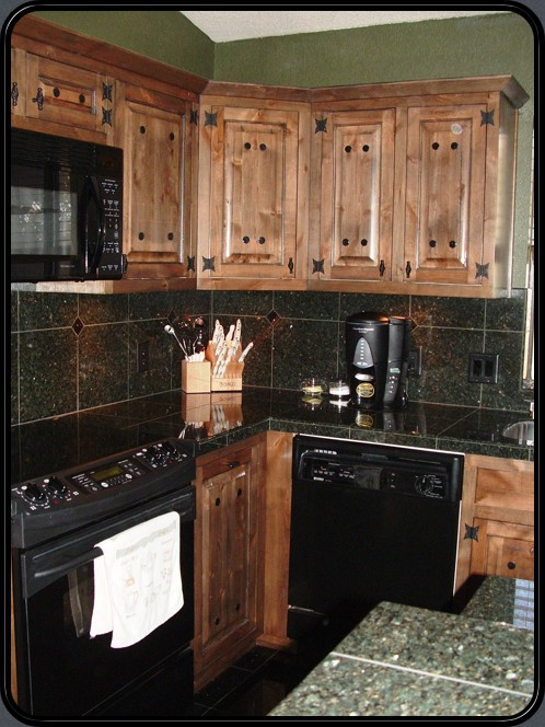Forest green kitchen cabinets for Western kitchen cabinets