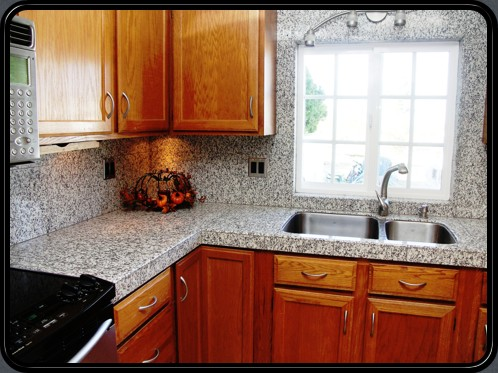 Luna Pearl complete kitchen remodel using natural granite